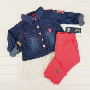 Polo Girls 2T Set Leggings & Lace Denim Top A0415